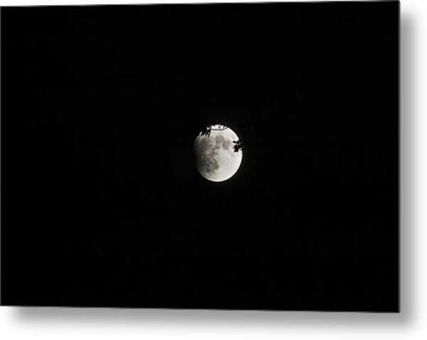 Lunar Eclipse Starting Metal Print by Mark Russell