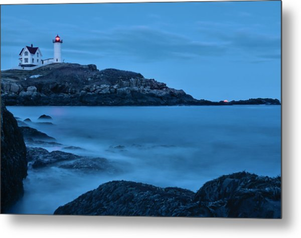 Lunar Perigee Moonrise And Nubble Lighthouse, Cape Neddick, York Metal Print