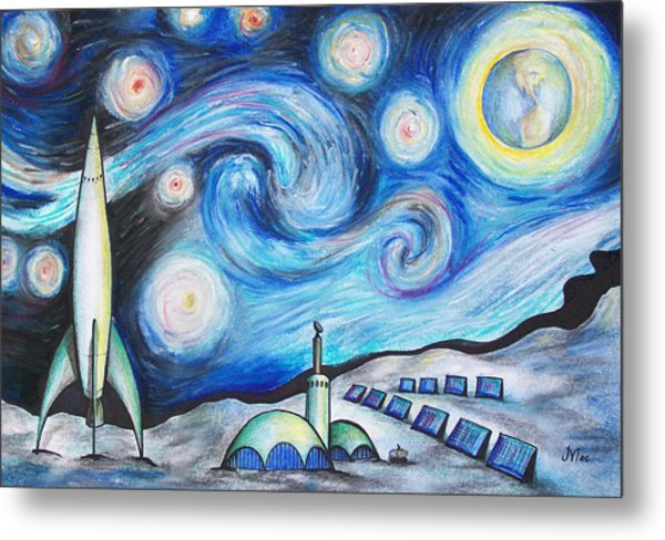 Lunar Starry Night Metal Print by Jerry Mac