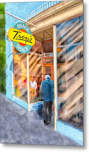 Metal Print featuring the mixed media Lunch At Troy's Snack Shack by Mark Tisdale
