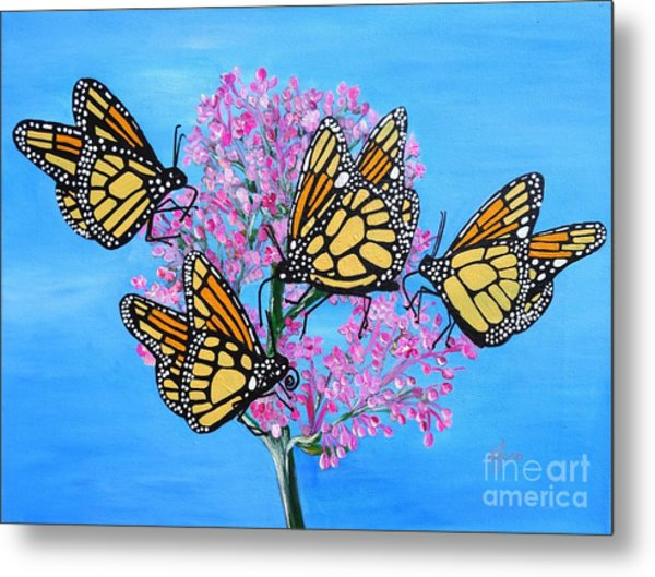 Butterfly Feeding Frenzy Metal Print