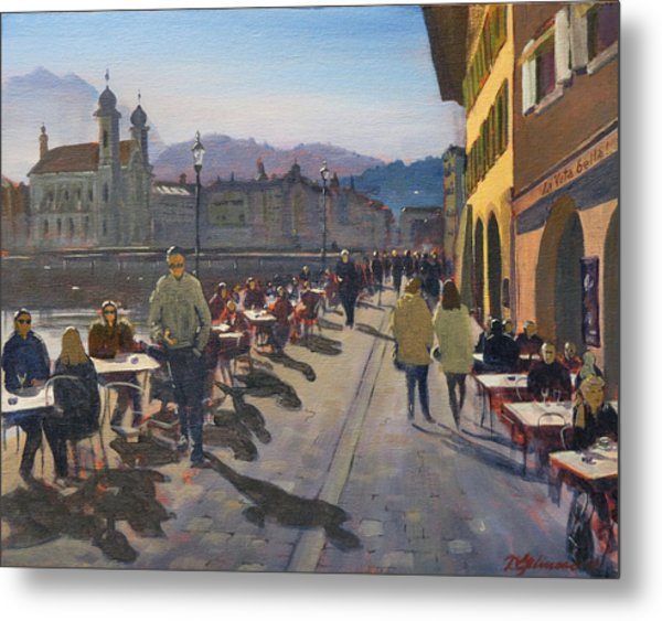 Lunchtime In Luzern Metal Print