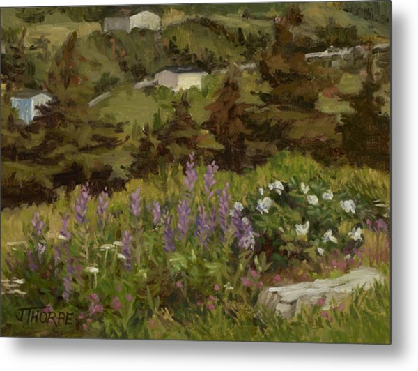 Lupine And Wild Roses Metal Print