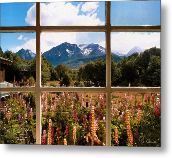 Lupines And Mountains Metal Print