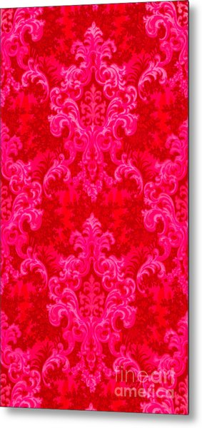 Luscious Neo Baroque Hot Pink Bubblegum Damask Metal Print