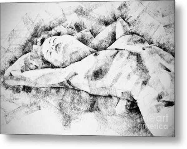 Lying Woman Figure Drawing Metal Print