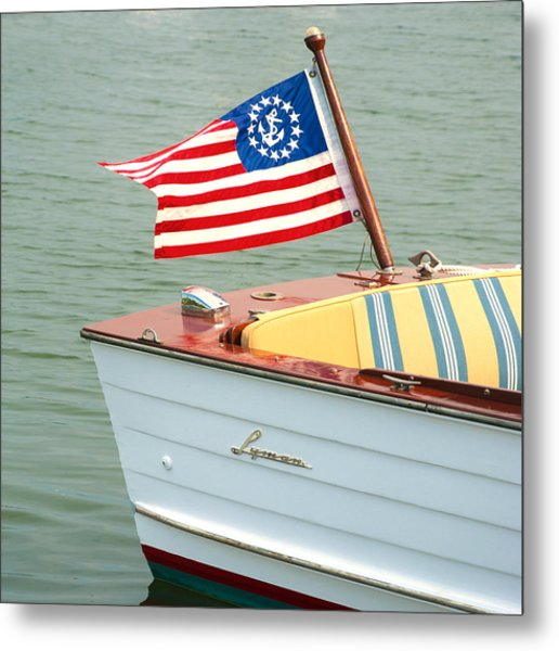 Vintage Mahogany Lyman Runabout Boat With Navy Flag Metal Print