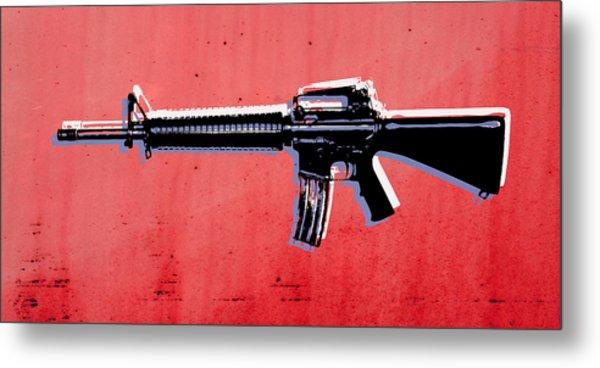 M16 Assault Rifle On Red Metal Print by Michael Tompsett