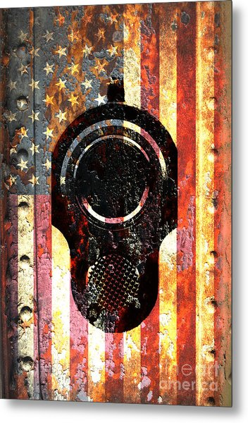 M1911 Colt 45 On Rusted American Flag Metal Print
