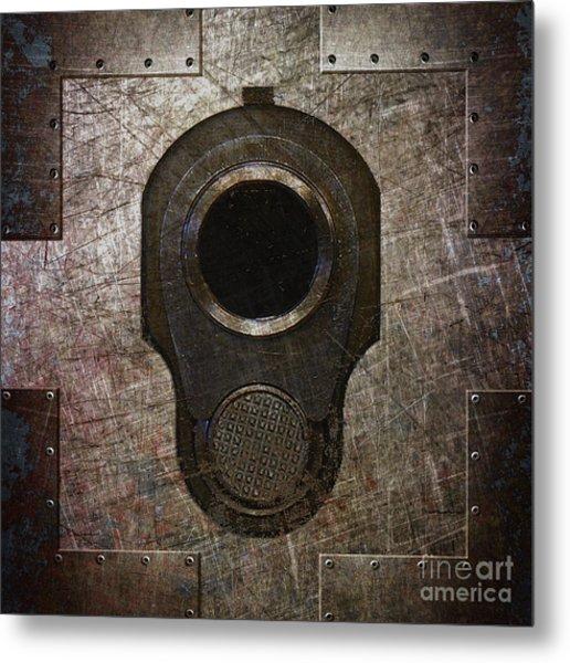 M1911 Muzzle On Rusted Riveted Metal Dark Metal Print