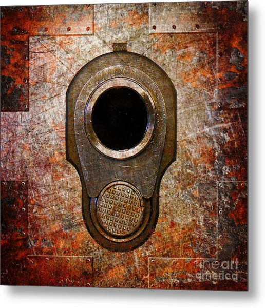 M1911 Muzzle On Rusted Riveted Metal Metal Print
