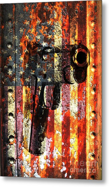 M1911 Silhouette On Rusted American Flag Metal Print