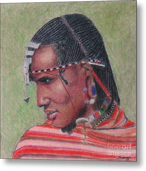 Maasai Warrior II -- Portrait Of African Tribal Man Metal Print
