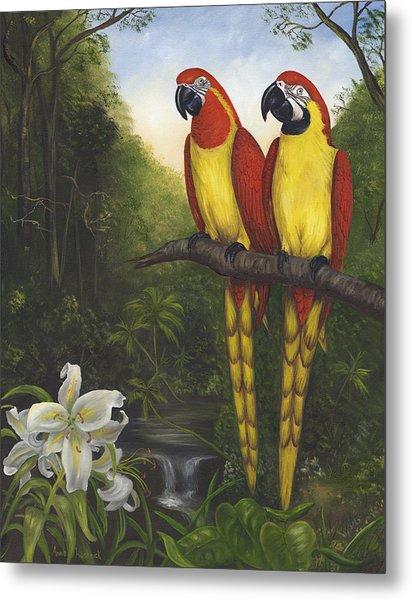 Macaws And Lillies Metal Print