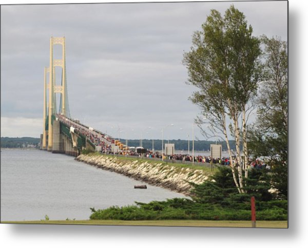 Mackinac Bridge Walk Metal Print