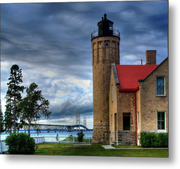 Mackinaw Bridge And Lighthouse Metal Print