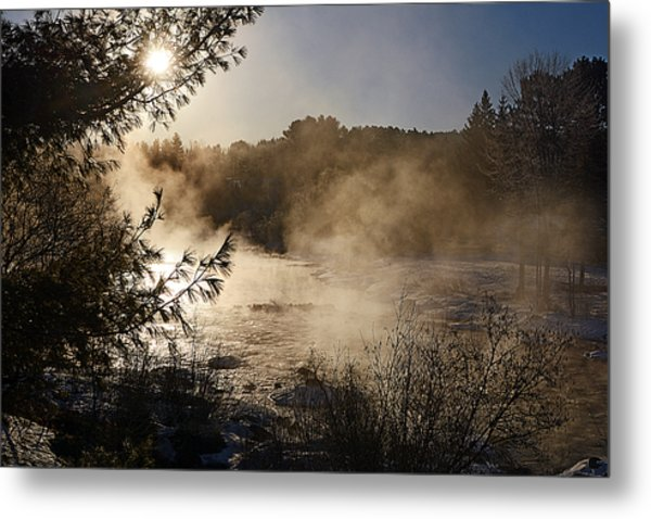 Madawaska River Sunrise Mist Metal Print