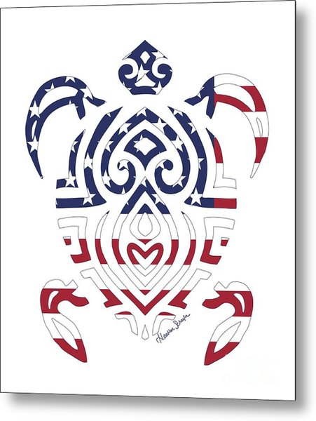 Made In The Usa Tribal Turtle Metal Print
