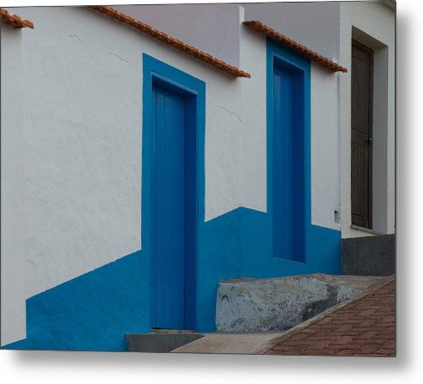 Madeiran Cottage Doors Metal Print