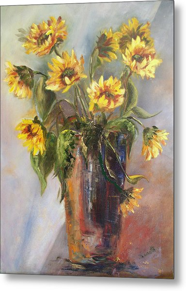 Madelaine's Sunflowers Metal Print by Jeanette Fowler