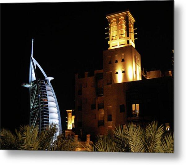 Madinat And Burj Al Arab Hotels Metal Print by Graham Taylor