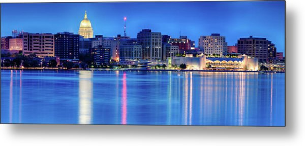 Madison Skyline Reflection Metal Print