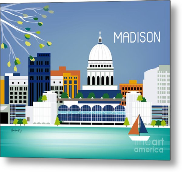 Madison Wisconsin Horizontal Skyline Metal Print