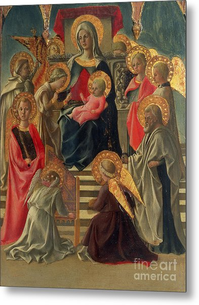 Madonna And Child Enthroned With Angels And Saints Metal Print