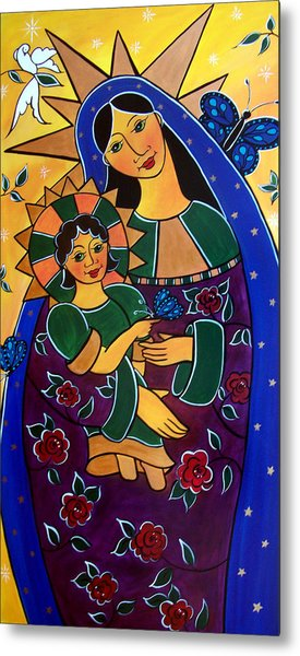 Metal Print featuring the painting Madonna And Child by Jan Oliver-Schultz