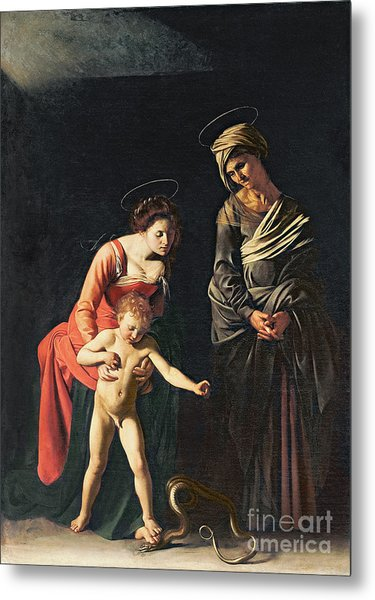 Madonna And Child With A Serpent Metal Print