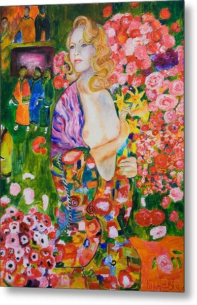 Madonna In Klimt Metal Print by Nik Helbig
