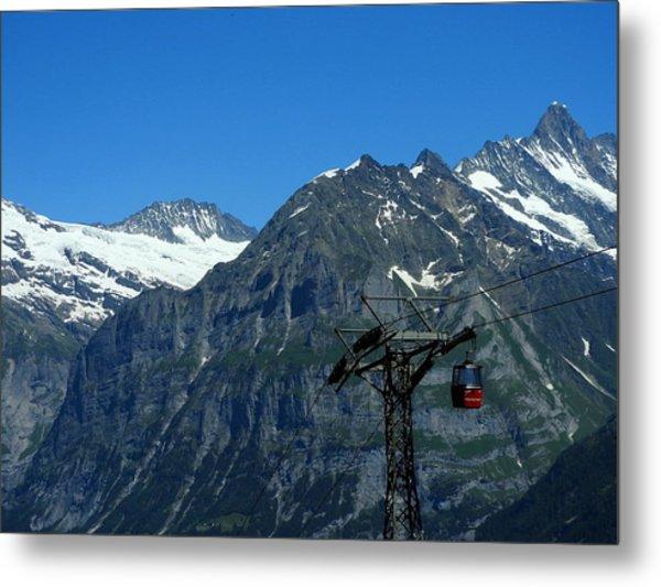 Maennlichen Gondola Calbleway, In The Background Mettenberg And Schreckhorn Metal Print
