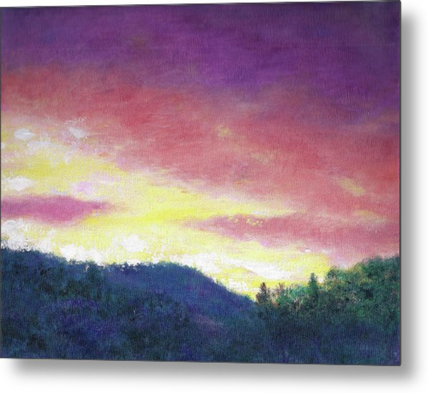 Magenta Sunset Oil Landscape Metal Print