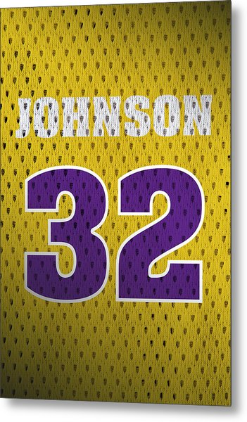 Magic Johnson Los Angeles Lakers Number 32 Retro Vintage Jersey Closeup Graphic Design Metal Print