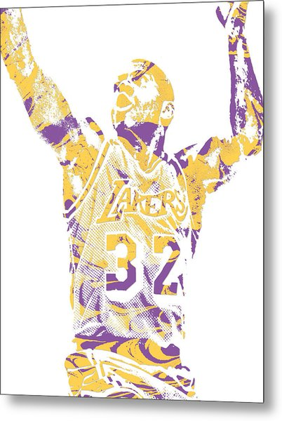 Magic Johnson Los Angeles Lakers Pixel Art 7 Metal Print