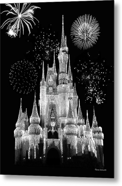 Magic Kingdom Castle In Black And White With Fireworks Walt Disney World Mp Metal Print