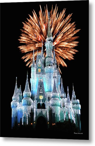 Magic Kingdom Castle In Frosty Light Blue With Fireworks 02 Mp Metal Print