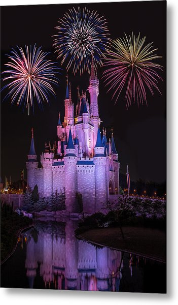 Magic Kingdom Castle Under Fireworks Metal Print