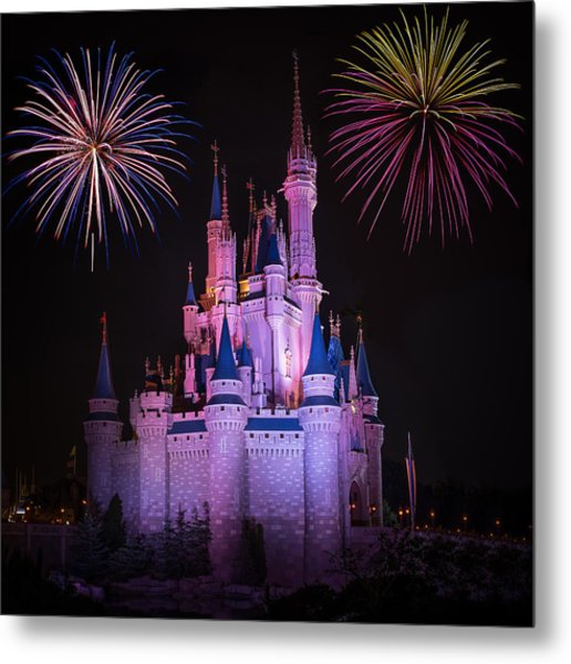 Magic Kingdom Castle Under Fireworks Square Metal Print
