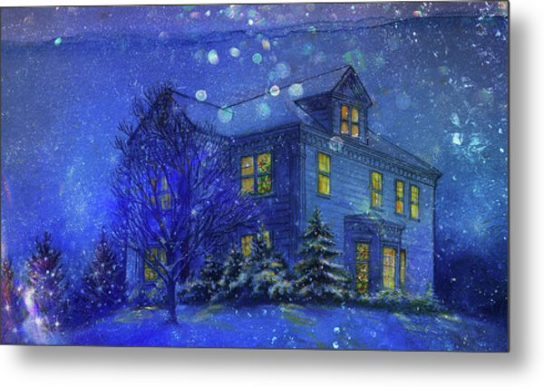 Magical Blue Nocturne Home Sweet Home Metal Print