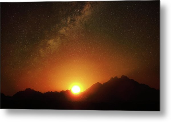 Magical Milkyway Above The African Mountains Metal Print