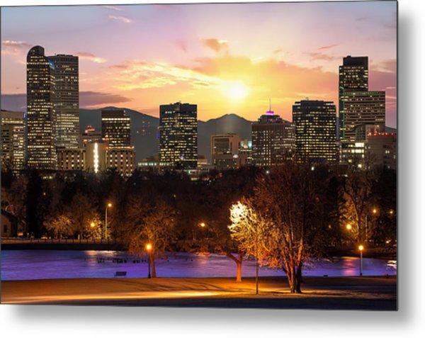 Magical Mountain Sunset - Denver Colorado Downtown Skyline Metal Print