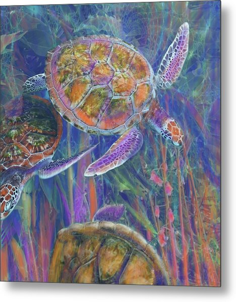 Magical Sea Turtles  Metal Print