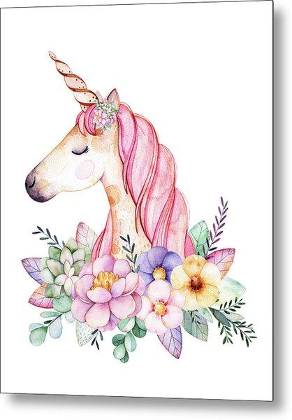 Magical Watercolor Unicorn Metal Print