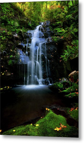 Magical Waterfall Above Spruce Falls In Tremont Smoky Mountains Tennessee  Metal Print