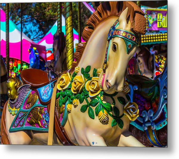 Magical Wild Carrousel Horse Metal Print