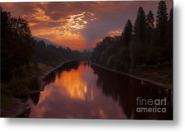 Magnificent Clouds Over Rogue River Oregon At Sunset  Metal Print