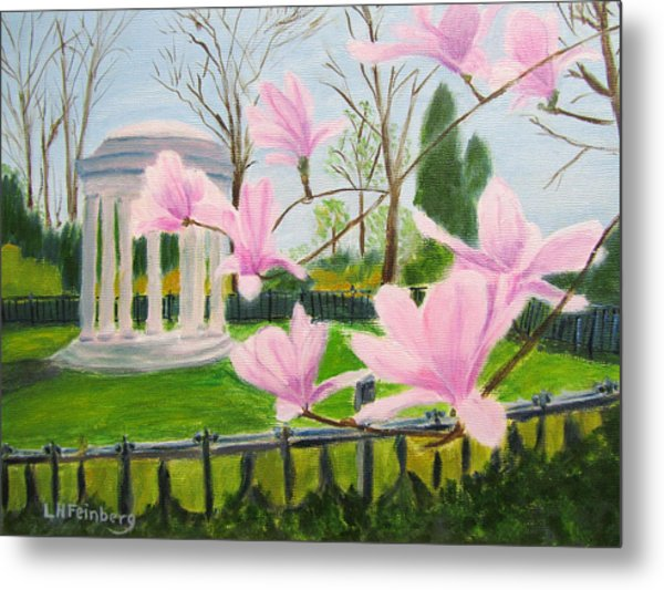 Metal Print featuring the painting Magnolia Blossoms At Wagner Park by Linda Feinberg