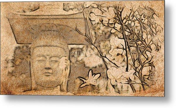 Magnolia Buddha Metal Print
