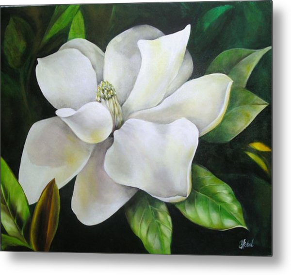 Magnolia Oil Painting Metal Print